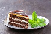 piece of delicious dessert festive cake with chocolate and fruits