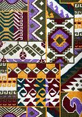 Carpet Fabric Pattern In Retro Style With Bright Geometrical Ornament