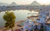 Sacred lake in Pushkar, Rajasthan, India