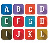 Set  Flat Icons Alphabet