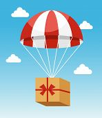 Red and White Parachute Holding Delivery Box