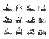 Silhouette car and automobile service icon