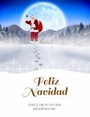 Santa delivery presents to village against feliz navidad