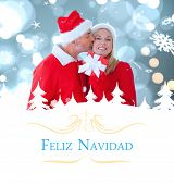 festive couple against Christmas greeting card