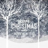 Falling Snow. Christmas Background with Greeting Text