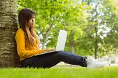 Side view full length of relaxed young woman using laptop in the park