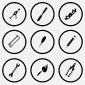 Angularly set. Black and white set vector icons.