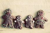Gingerbread family of four. Handmade in home, decorated by children. Vintage Christmas