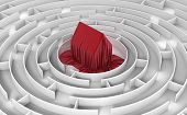 stock photo of three dimensional shape  - Image of house in maze - JPG