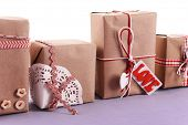 Group of handmade present boxes with tag