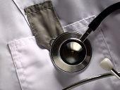 Stethoscope On White Medical Coat