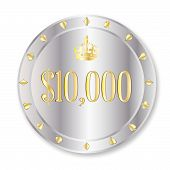 pic of ten thousand dollars  - A platinum ten thousand dollar gambling chip over a white background - JPG