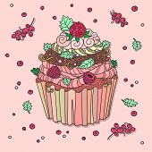 Drawing of muffin. Cupcake decorated with red berries. Mild pastel colors.