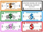 Dollars play money vector