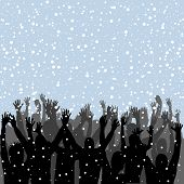 People Silhouettes Enjoying Snow