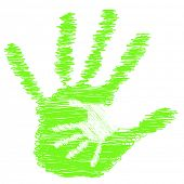 Concept or conceptual cute drawing green paint hands of mother and child isolated on white background