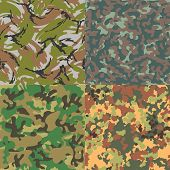 Set of vector seamless camouflage patterns. Four kinds.