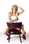 Skinny Light Skinned Black Woman Sitting Chair