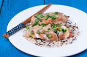 Chicken Fillet Served With Miso Sauce And Rice