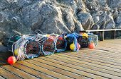 pic of lobster trap  - Lobster pots in many lovely color ready to catch the lobster or crab - JPG