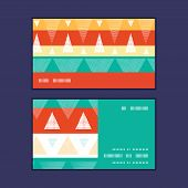 Vector vibrant ikat stripes horizontal stripe frame pattern business cards set
