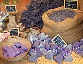 picture of sachets  - Lavender flowers and sachets filled with dried lavender at market - JPG