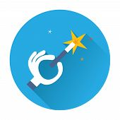 magician hand with a magic wand