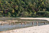 Single Lane Log Bridge Over A Shallow River