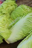 Fresh White Cabbage On A Table At  The Market.
