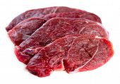 Beautiful Slices Of Organic Australian Raw Uncooked Lamb Leg Steaks