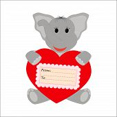 Elephant  holding a heart on a white background