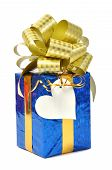Blue gift with tag