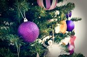 Christmas Ornaments In Retro Filter Effect Or Instagram Filter