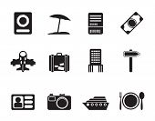 Silhouette travel, trip and holiday icons