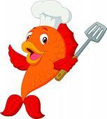 Cartoon chef fish holding spatula