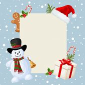 Christmas card with snowman, decorations and falling snow. Vector illustration.