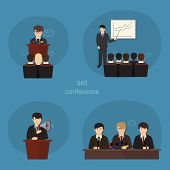 Business concept flat icons set of meeting partnership planning conference infographic design elemen