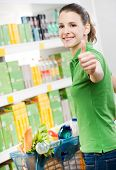 Woman Thumbs Up At Supermarket