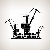 Silhouette Cargo Cranes And Containers  On A Light Background, Vector Illustration