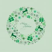 Christmas Wreath with Green Icons Vector