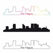 The Hague Skyline Linear Style With Rainbow