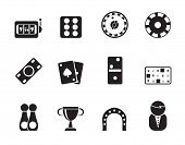 Silhouette gambling and casino Icons