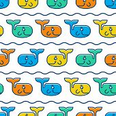 Seamless Pattern With Colorful Smiling Whales. Vector Illustration Background