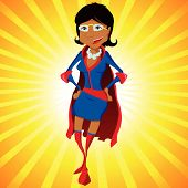 Black Super Woman Mother Cartoon with Yellow Background