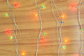 Christmas Light Decorations On Wooden