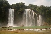 pic of waterfalls  - Ban Gioc Waterfall on the Quy Xuan River is located in Cao Bang Province - JPG