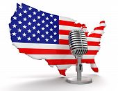Microphone and USA (clipping path included)