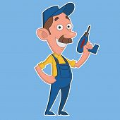 picture of worker  - Worker with screwdriver - JPG