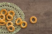 picture of doilies  - traditional bagels and lace doily on a wooden table - JPG