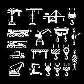 stock photo of crane hook  - Set icons of crane lifts winches and hooks isolated on black - JPG